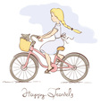 Girl on a bicycle in a retro style vector image