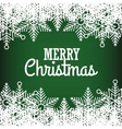 greeting merry christmas green with snowflake vector image