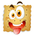 Happy face on biscuit vector image