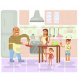 happy family is cooking vector image