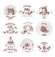 honey hand drawn emblems vector image