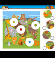 Match pieces game with cartoon wild animals vector image
