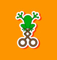 paper sticker on stylish background kids toy frog vector image
