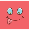 pink hand drawn funny monster face vector image