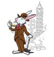 Rabbit in the costume of a gentleman near Big Ben vector image