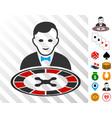 roulette dealer icon with bonus vector image