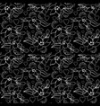 seamless love flower pattern black vector image