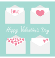 Set of four envelopes with hearts Valentines day vector image