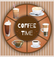 with coffee drinks hot drinks set vector image