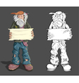 homeless man with sign vector image vector image