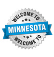 Minnesota 3d silver badge with blue ribbon vector image