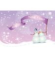 Christmas card snowmen vector image vector image