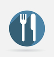 fork and knife Circle blue icon with shadow vector image