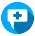 Medical Answer Flat Round Icon with Long Shadow vector image