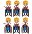 Boy on wheelchair with different emotions vector image vector image