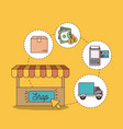 yellow background with store and steps of buy vector image