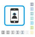 smartphone operator contact portrait framed vector image