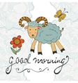 Good morning Cute card with smiling goat vector image vector image
