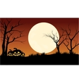 Silhouette of pumpkins Halloween with full moon vector image