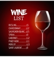 Wine menu card design template list layout vector image