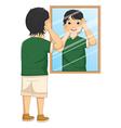 A Boy Facing The Mirror vector image