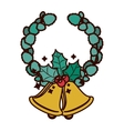 crown ornament with leaves Christmas and bell vector image