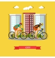 Cycling in the city flat design vector image