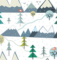 Mountains at winter season seamless pattern - vector image