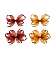 Set of Brown Yellow Transparent Bows on Background vector image