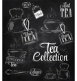 Set Tea Collection chalk vector image