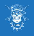 Surfing skull vector image