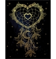 Heart shaped dream catcher with moon vector image