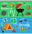 Flat style barbecue and camping banners vector image