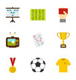 football briefing icons set flat style vector image