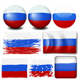 Russia flag on different items vector image
