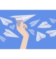 White paper airplane in the female hand and other vector image