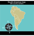 South America map with contry borders vector image vector image