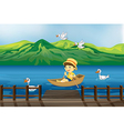 A boy riding on a wooden boat vector image vector image