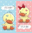 ducks boy and girl vector image