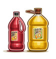 2 big red and yellow bottles with palm oil vector image