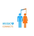 Share - two people listening to the same music vector image