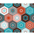 Coloured embroidered hexagons background vector image