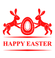pair bunny easter red vector image vector image