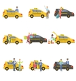 Taxi Drivers And Their Clients Set vector image vector image