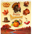 Autumn Happy Thanksgiving cartoon character and vector image