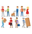 delivery boy service workers couriers delivering vector image