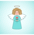 Doodle angel with a heart vector image