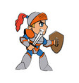 knight character with armor sword shield vector image