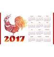 New Year calendar greed with red fiery roosters vector image