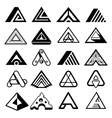 Triangle shapes for A letter logo and monogram vector image